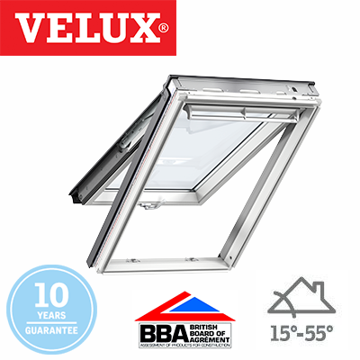 velux top hung white polyurethane finish 78x98. Black Bedroom Furniture Sets. Home Design Ideas
