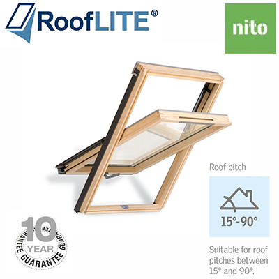 Rooflite Centre Pivot Window - 78x140 Pine