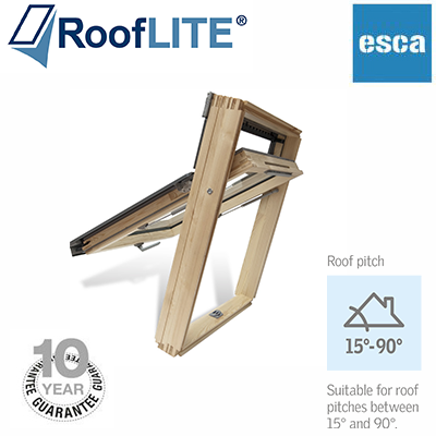 Rooflite Top Hung Fire Escape - 78x98 Pine